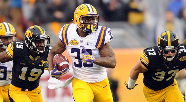 LSU's Jeremy Hill runs all over Iowa to earn a spot on the All-Bowl Team. (USATSI)