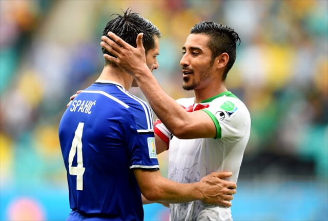 Emir Spahic's Bosnia got the better of Reza Ghoochannejhad's Iran. (Getty Images)