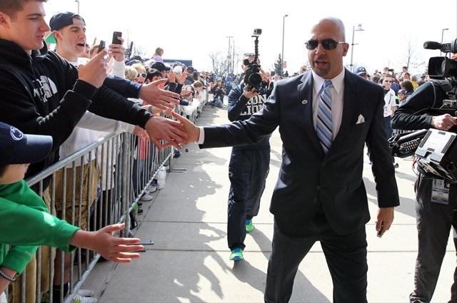 James Franklin pressed the flesh with Nittany Lion fans Saturday. (USATSI)