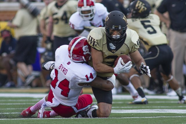 Jarvis Byrd tackles Wake Forest's Michael Campanaro in the team's Oct. 5 meeting. (USATSI)