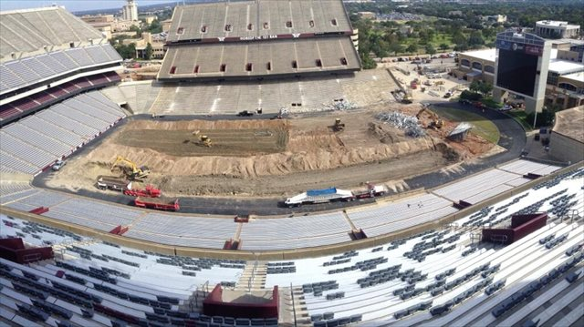 The Kyle Field renovation began in November. (@AggieFootball)