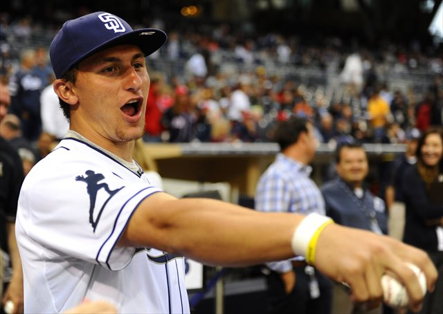 Johnny Manziel had quite a time visiting the San Diego Padres Thursday. (USATSI)