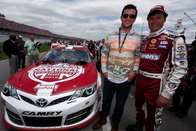 AJ McCarron and Michael Waltrip get ready for the Aaron's 499. (Getty Images)