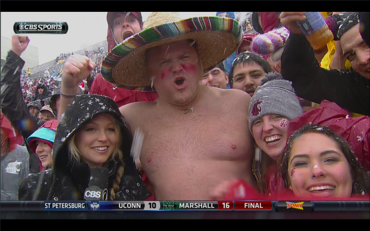 LOOK: Big, shirtless guy in sombrero is the hero of the snowy Sun Bowl