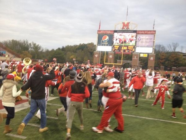 RedHawks fans celebrate the team's first win in nearly two years