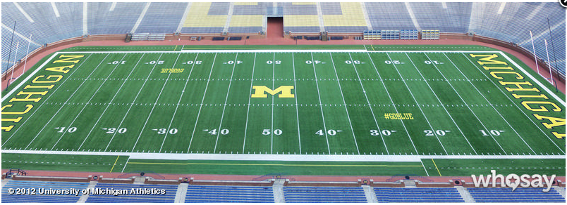 Football Field In Your Backyard :  to add #GOBLUE hash tag to field for 2012 Spring Game  CBSSportscom