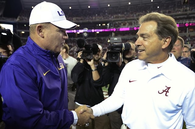 Les Miles and Nick Saban hold the fate of the No. 1 spot in their hands. (USATSI)