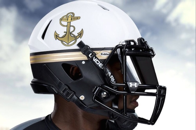 Navy's summer white helmets come complete with the gold belt. (Navy ...