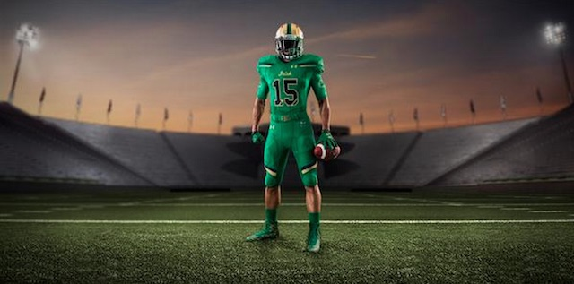 the latest 57a84 f494e LOOK: Notre Dame's green monster uniforms for 2015 Shamrock ...