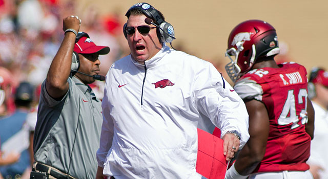 While Gus Malzahn is having success at Auburn, Bret Bielema is struggling at Arkansas. (USATSI)