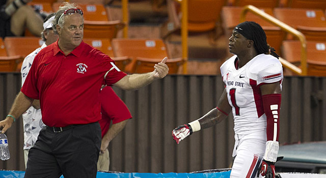 Fresno State's Isaiah Burse is ejected against Hawaii after being called for targeting. (USATSI)