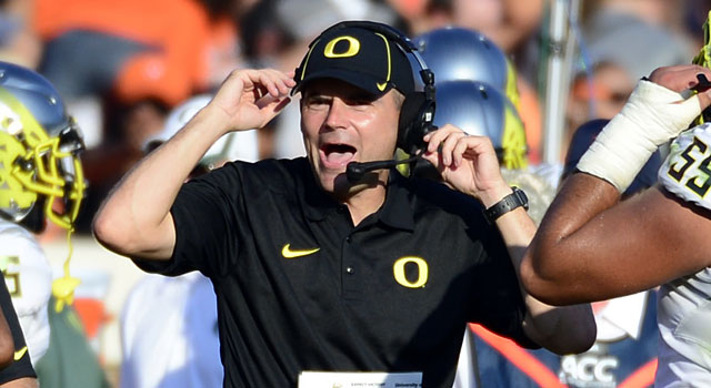 Mark Helfrich, not Urban Meyer, is the No. 1 Saban chaser at the midway point. (USATSI)