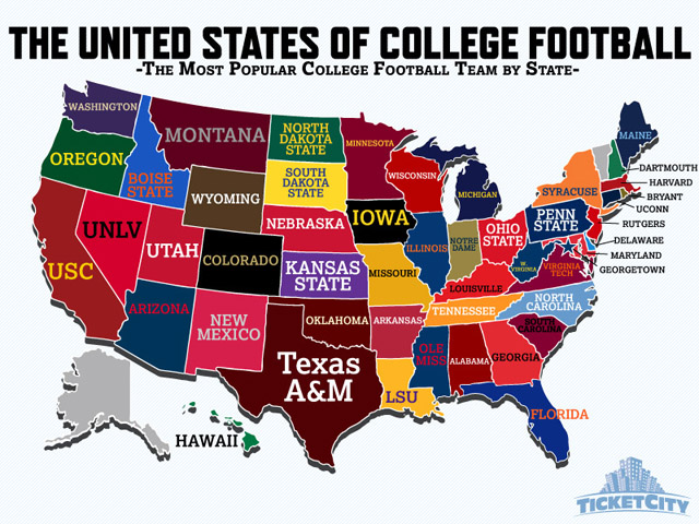 InfoGraphic: Most popular college football team by state ...