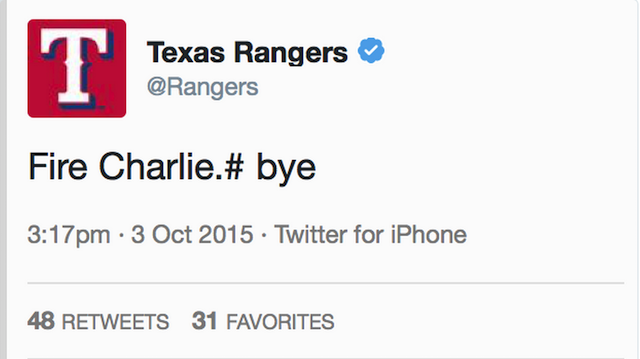 Texas Rangers' Account Tweets 'Fire Charlie' As TCU Routs