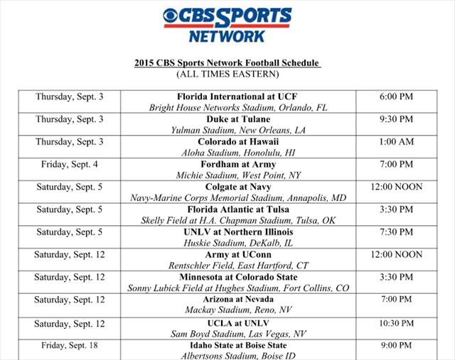 college football schedule for today cbs sports football