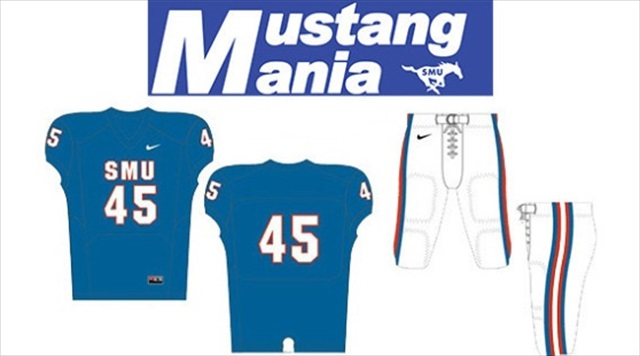 SMU is wearing blue jerseys for '80s Night.' (SMU Athletics)