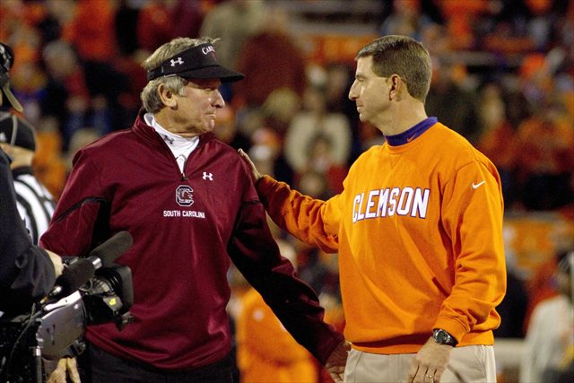 Dabo Swinney will hope for a different outcome when he meets Steve Spurrier's Gamecocks in 2014. (USATSI)