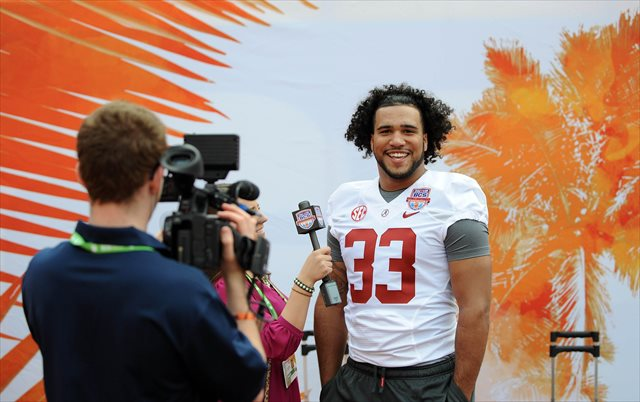 Trey DePriest (pictured here at the BCS Championship Game) has less to smile about after a suspension. (USATSI)