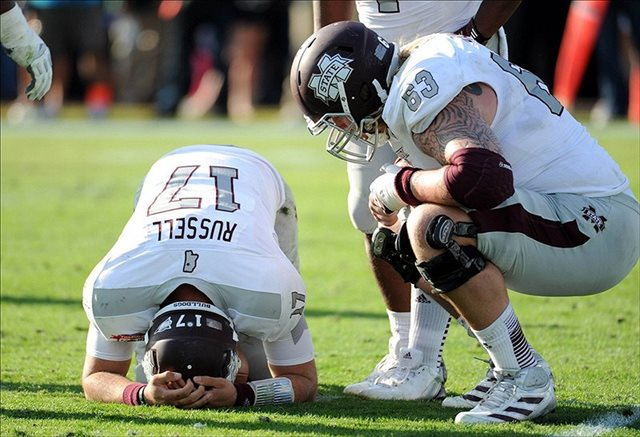 Tyler Russell and Mississippi State had a tough end to the 2012 season. (USATSI)