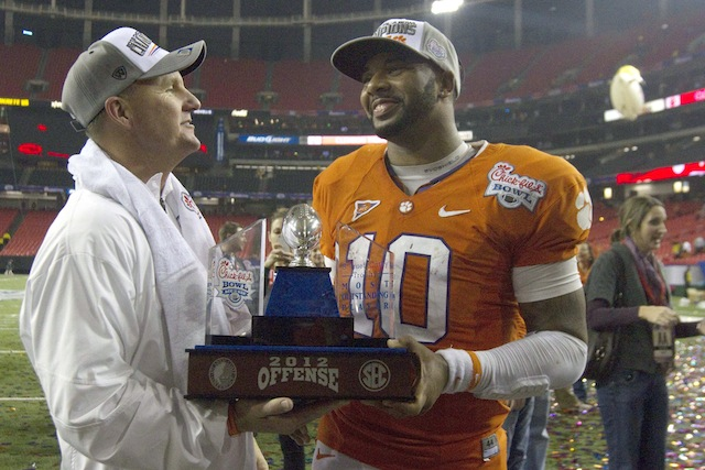 Both Chad Morris (left) and Tajh Boyd (right) return to lead Clemson's offense 2013. (USATSI)