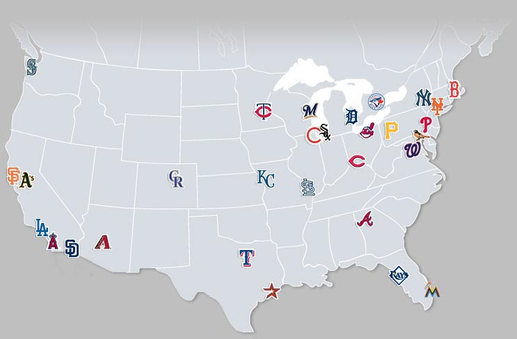 The Quest For 42 Every Mlb Stadium: Map Of Usa With Mlb Cities At Usa Maps