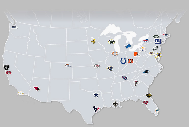 NFL Teams Us Map.