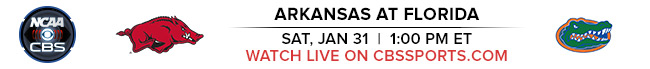 Arkansas at Florida - Saturday, January 31st at 1:00 PM EST Watch Live on CBSSports.com