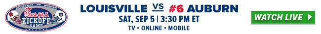 Louisville vs #6 Auburn Sat, Sept 5 - 3:30 PM ET