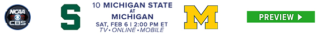 #10 Michigan State at Michigan - Sat, Feb 6 at 2:00 PM