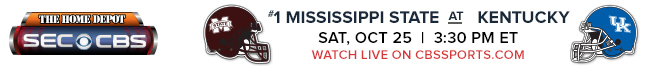 #1 Mississippi State at Kentucky - Saturday, Oct 25 at 3:30 PM EST Watch Live on CBSSports.com