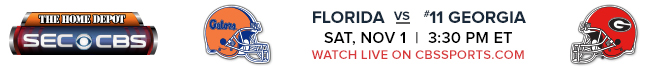 Florida vs #11 Georgia - Saturday, Nov 1 at 3:30 PM EST Watch Live on CBSSports.com