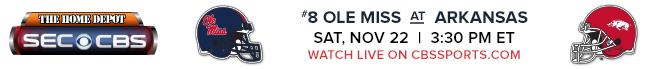 #8 Ole Miss at Arkansas - Saturday, Nov 22 at 3:30 PM EST Watch Live on CBSSports.com