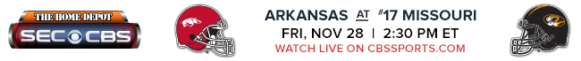 Arkansas at #17 Missouri - Friday, Nov 28 at 2:30 PM EST Watch Live on CBSSports.com