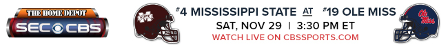 #4 Mississippi State at #19 Ole Miss - Saturday, Nov 29 at 3:30 PM EST Watch Live on CBSSports.com