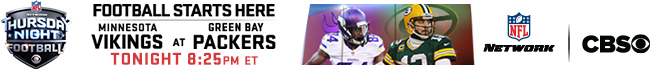 Thursday Night Football - Vikings at Packers - Tonight at 8:00 PM
