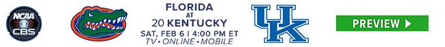 Florida at #20 Kentuck - Sat Feb 6 at 4:00 PM