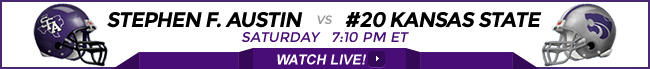 Stephen F. Austin vs Kansas State K-State watch live online stream on Saturday at 7:10 PM ET