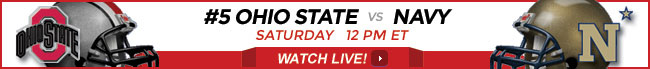 Ohio State vs Navy watch live online stream on Saturday at 12 PM ET