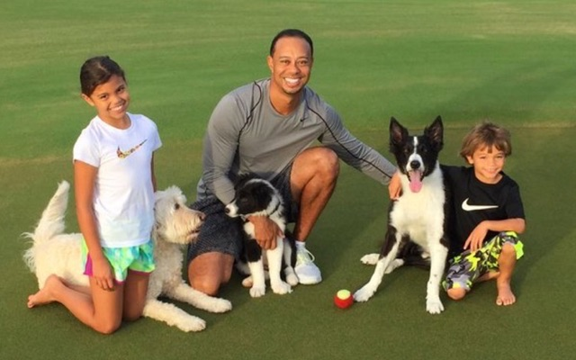 look  tiger woods celebrates christmas with his kids and