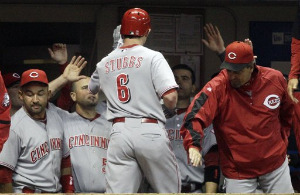Drew Stubbs congratulated on 20th homer