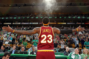 LeBron James throws powder in the air