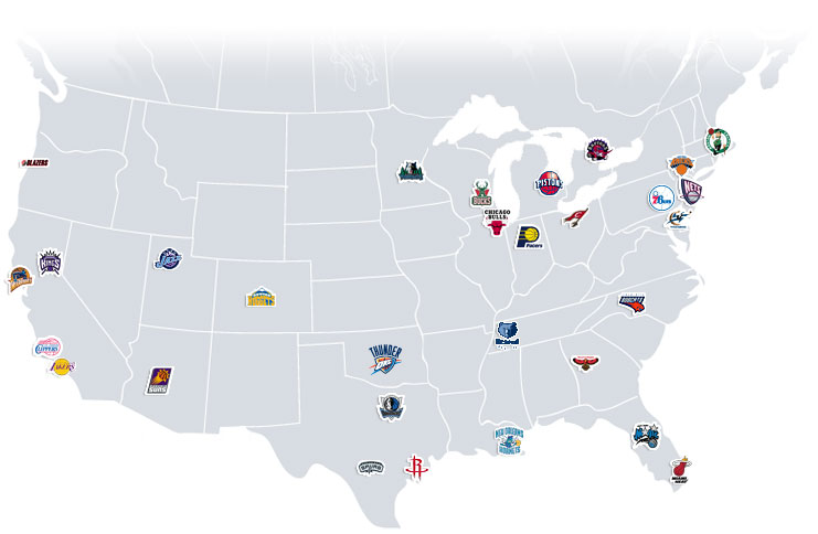 Interesting NBA Map Basketball Forum Professional And College - Nba teams map