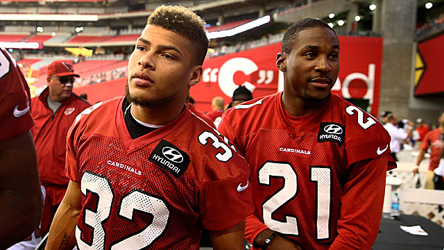 Rookie CB Tyrann Mathieu (right) -- a.k.a. Honey Badger -- joins another former LSU standout, Patrick Peterson, at workouts. (USATSI)