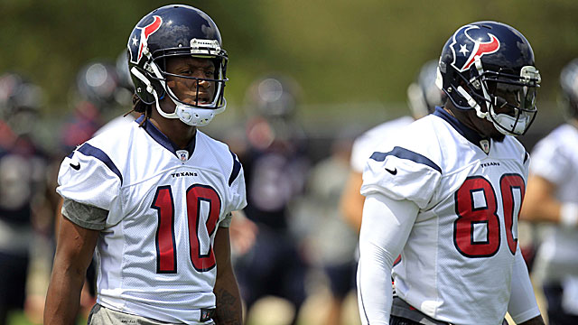 Wide receiver DeAndre Hopkins (left), the Texans' first-round draft pick, works alongside veteran WR Andre Johnson. (USATSI)