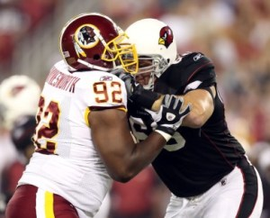 A. Haynesworth didn't perform well against Arizona, and now it's being reported he might not play the season opener against Dallas (Getty).