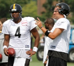 B. Roethlisberger and B. Leftwich at Pittsburgh practice today (AP).