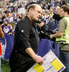 B. Berrian described former Minnesota coach Brad Childress as confrontational (US Presswire).