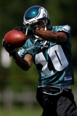 D. Jackson catches a pass at Philadelphia's training camp the day before he injured his back (AP).