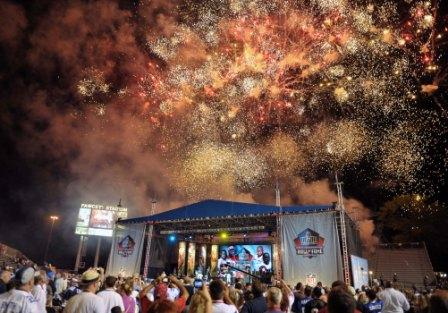 Fireworks fly during the 2010 Pro Football HOF induction ceremony (US Presswire).