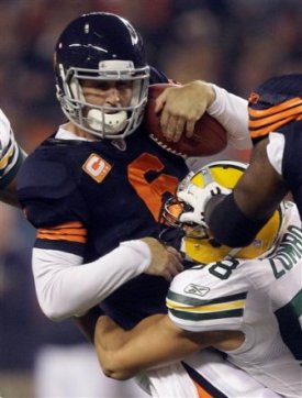 Green Bay has been pressuring J. Cutler in the first half (AP).